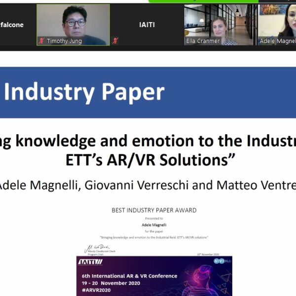 A ETT il Best Industry Paper durante la 6th International AR VR Conference