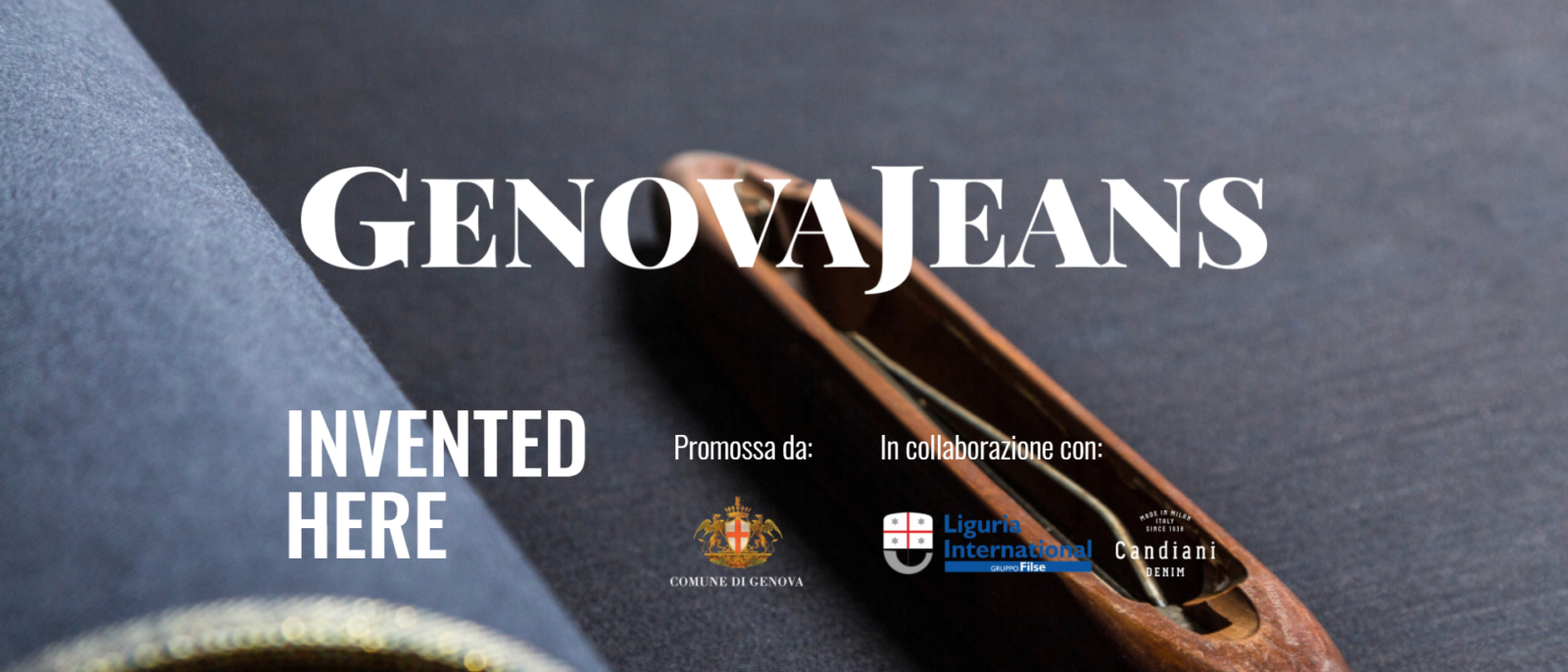 Rotolo di tessuto in jeans con scritta GenovaJeans–Invented-Here-