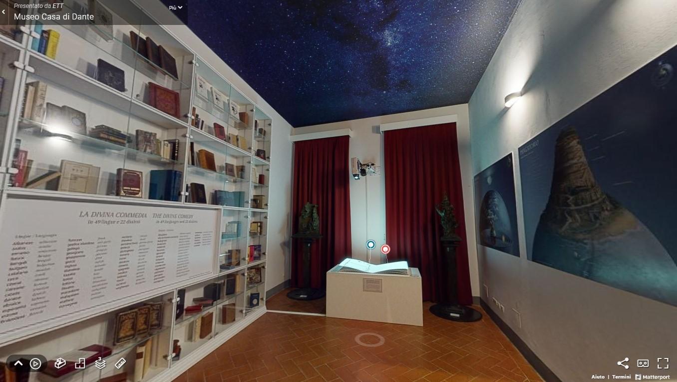 Fotogramma del virtual tour in una stanza del Museo casa di Dante
