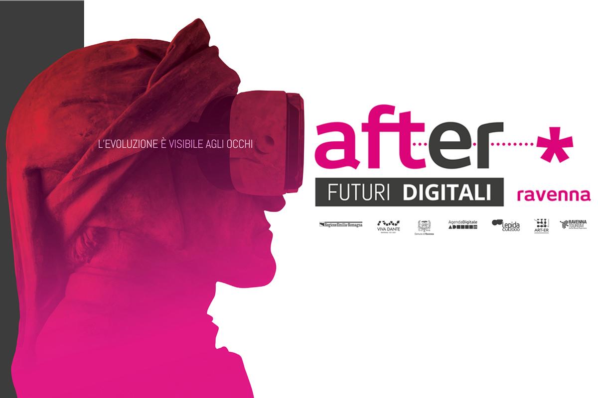Volto di Dante fucsia di profilo con scritta After Futuri Digitali