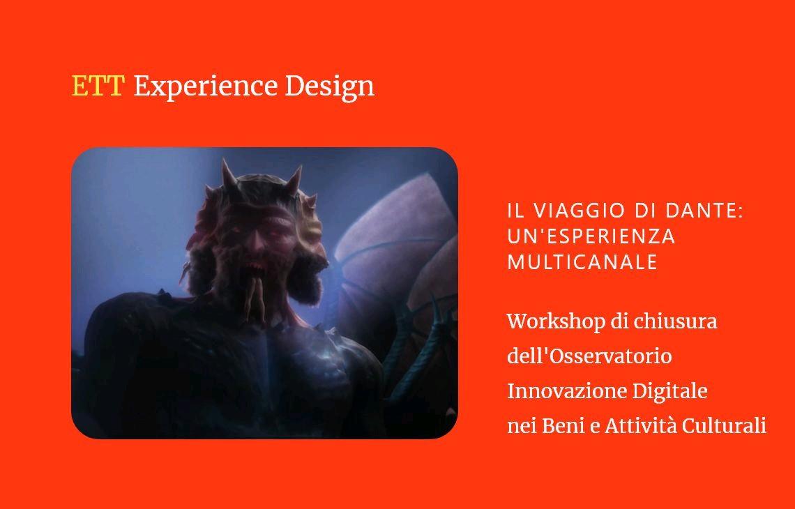 Locandina Il viaggio di Dante: un'esperienza multicanale in sfondo rosso